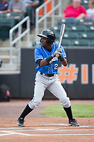 Vidal Brujan (2) of the Hudson Valley Renegades at bat against the Aberdeen IronBirds at Leidos Field at Ripken Stadium on July 27, 2017 in Aberdeen, Maryland.  The Renegades defeated the IronBirds 2-0 in game one of a double-header.  (Brian Westerholt/Four Seam Images)