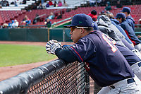 Cedar Rapids Kernels Gabriel Maciel (19) during a Midwest League game against the Kane County Cougars at Northwestern Medicine Field on April 28, 2019 in Geneva, Illinois. Kane County defeated Cedar Rapids 3-2 in game one of a doubleheader. (Zachary Lucy/Four Seam Images)