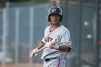 San Francisco Giants outfielder Ismael Munguia (12) during a Minor League Spring Training game against the Oakland Athletics at Lew Wolff Training Complex on March 26, 2018 in Mesa, Arizona. (Zachary Lucy/Four Seam Images)