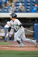 Clinton LumberKings second baseman Bryson Brigman (8) at bat during a game against the West Michigan Whitecaps on May 3, 2017 at Fifth Third Ballpark in Comstock Park, Michigan.  West Michigan defeated Clinton 3-2.  (Mike Janes/Four Seam Images)