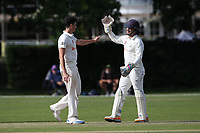 Joe Ellis-Grewal of Wanstead claims the wicket of Connor Limrick during Brentwood CC vs Wanstead and Snaresbrook CC, Essex Cricket League Cricket at The Old County Ground on 12th September 2020