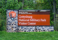 Gettysburg National Military Park sign, Adams County, Pennsylvania, USA