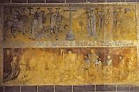 """Europe/France/Auvergne/63/Puy-de-Dôme/Ennezat: L'église Saint-Victor (ancienne collégiale Saint-Victor et Sainte Couronne) - Détail fresque murale intitulée """"Rencontre des trois vifs et des trois morts"""" (2ème travée du collatéral gauche)"""