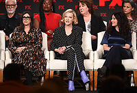"""PASADENA, CA - JANUARY 9: (L-R Front Row) Executive Producer Stacey Sher, Executive Producer/cast member Cate Blanchett, Creator/Executive Producer/Writer Dahvi Waller, (L-R Back Row) cast members John Slattery, Uzo Aduba, Margo Martindale, and Tracey Ullman attend the panel for """"Mrs. America"""" during the FX Networks presentation at the 2020 TCA Winter Press Tour at the Langham Huntington on January 9, 2020 in Pasadena, California. (Photo by Frank Micelotta/FX Networks/PictureGroup)"""