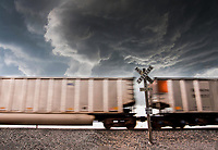 A Train Passes Beneath A Rotating Mesocyclone in Campo, CO, May 31, 2010