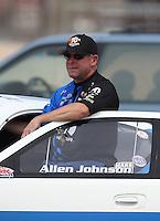 Apr. 7, 2013; Las Vegas, NV, USA: NHRA pro stock driver Allen Johnson during the Summitracing.com Nationals at the Strip at Las Vegas Motor Speedway. Mandatory Credit: Mark J. Rebilas-