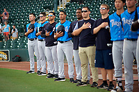 Tampa Tarpons (L-R) Pat Osborn, Eric Duncan, Jose Rosado, Jose Javier, Michel Hernandez, Michael Becker, and Jacob Dunning during the national anthem before a game against the Bradenton Marauders on August 12, 2018 at LECOM Park in Bradenton, Florida.  The game was suspended in the bottom of the first inning due to weather.  (Mike Janes/Four Seam Images)