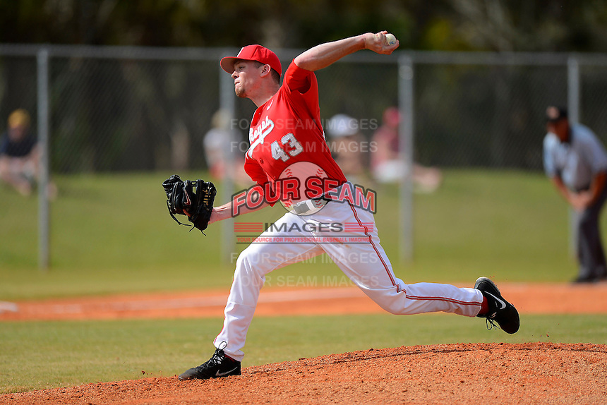 Ohio State Buckeyes pitcher Brian King #43 during a game against the South Dakota State Jackrabbits at North Charlotte Regional Park on February 23, 2013 in Port Charlotte, Florida.  Ohio State defeated South Dakota State 5-2.  (Mike Janes/Four Seam Images)