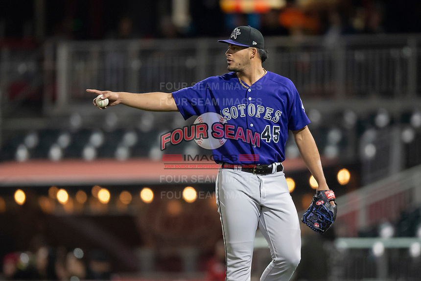 Albuquerque Isotopes relief pitcher Jesus Tinoco (45) during a Pacific Coast League game against the El Paso Chihuahuas at Southwest University Park on May 10, 2019 in El Paso, Texas. Albuquerque defeated El Paso 2-1. (Zachary Lucy/Four Seam Images)