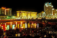 Providence, RI, Rhode Island, Waterfire Providence on Providence River at Water Place Park in downtown Providence at night.