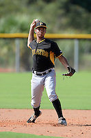 Pittsburgh Pirates shortstop Trae Arbet (2) during practice before an Instructional League game against the Tampa Bay Rays on September 27, 2014 at the Charlotte Sports Park in Port Charlotte, Florida.  (Mike Janes/Four Seam Images)