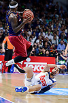 Real Madrid's Gustavo Ayon and FC Barcelona Lassa's Tyrese Rice during Liga Endesa match between Real Madrid and FC Barcelona Lassa at Wizink Center in Madrid, Spain. March 12, 2017. (ALTERPHOTOS/BorjaB.Hojas)