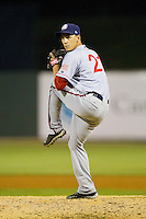 Hagerstown Suns relief pitcher Robert Benincasa (21) in action against the Kannapolis Intimidators at CMC-Northeast Stadium on May 17, 2013 in Kannapolis, North Carolina.  The Suns defeated the Intimidators 9-7.   (Brian Westerholt/Four Seam Images)