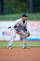 West Michigan Whitecaps shortstop Isaac Paredes (11) during the second game of a doubleheader against the Lake County Captains on August 6, 2017 at Classic Park in Eastlake, Ohio.  West Michigan defeated Lake County 9-0.  (Mike Janes/Four Seam Images)