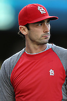 Matt Carpenter #13 of the St.Louis Cardinals before a game against the Los Angeles Dodgers at Dodger Stadium on May 18, 2012 in Los Angeles,California. Los Angeles defeated St.Louis 6-5.(Larry Goren/Four Seam Images)