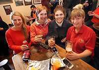 Pictured: Regulars cheer on before the race at Cresselly Arms pub in Cresswell Quay, Pembrokeshire, Wales, UK. Thursday 16 March 2017<br /> Re: A racehorse owned by a syndicate from Pembrokeshire which was a favourite to win at this year's Cheltenham Festival, has lost.<br /> Tobefair, a seven-year-old gelding, has won his last seven races.<br /> He was gifted as a colt to Michael Cole three years ago, in return for looking after two fillies on his farm.<br /> Unable to afford the training costs on his own, he decided to offer 50% of the ownership to people he knew through his local pub, the Cresselly Arms at Cresswell Quay Quay.<br /> The syndicate grew to 17 members but none except Mr Cole had owned a racehorse before.<br /> They said they were amazed when Tobefair started winning races and never dreamed he would make it to Cheltenham.