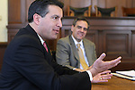 Governor-elect Brian Sandoval talks with reporters on Thursday, Dec. 30, 2010 at the Capitol in Carson City, Nev. Dale Erquiaga, Sandoval's senior advisor, is at right..Photo by Cathleen Allison