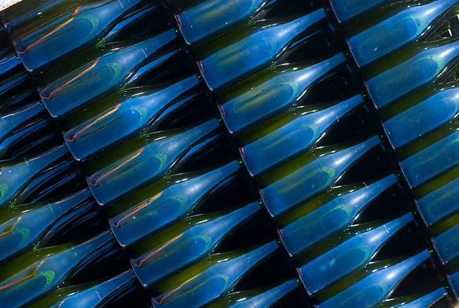 Bottles of sparkling wine wait for labeling