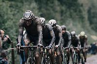 Mathieu van der Poel (NED/Alpecin Fenix) coming through the Arenberg Forest / Trouée d'Arenberg / Bois de Wallers<br /> <br /> 118th Paris-Roubaix 2021 (1.UWT)<br /> One day race from Compiègne to Roubaix (FRA) (257.7km)<br /> <br /> ©kramon