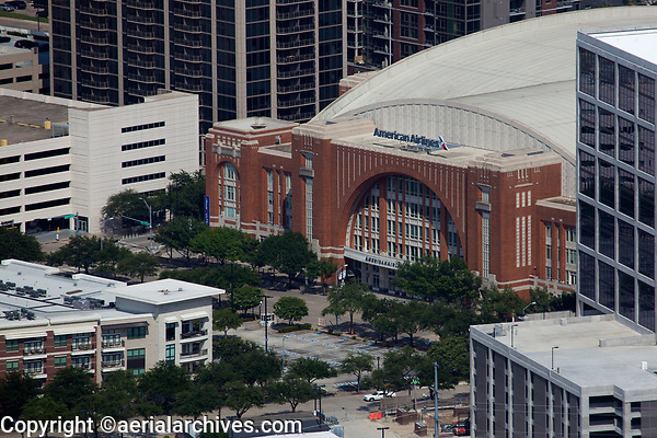 aerial photograph of American Airlines Center, Dallas, Texas