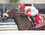 Stephanie's Kitten (no. 1), ridden by Irad Ortiz Jr. and trained by Chad Brown, wins the 38th running of the grade 1 Flower Bowl Invitational Stakes for fillies and mares three years old and upward on October 03, 2015 at Belmont Park in Elmont, New York.  (Bob Mayberger/Eclipse Sportswire)