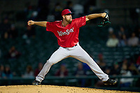 Worcester Red Sox pitcher Brandon Brennan (61) during a game against the Rochester Red Wings on September 3, 2021 at Frontier Field in Rochester, New York.  (Mike Janes/Four Seam Images)