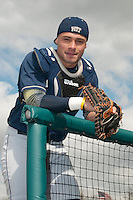 Pittsburgh Panthers catcher Elvin Soto (7) during game against the St. John's Redstorm at Jack Kaiser Stadium on March 22, 2013 in Queens, New York.  Pittsburgh defeated St. John's 12-9.  (Tomasso DeRosa/Four Seam Images)