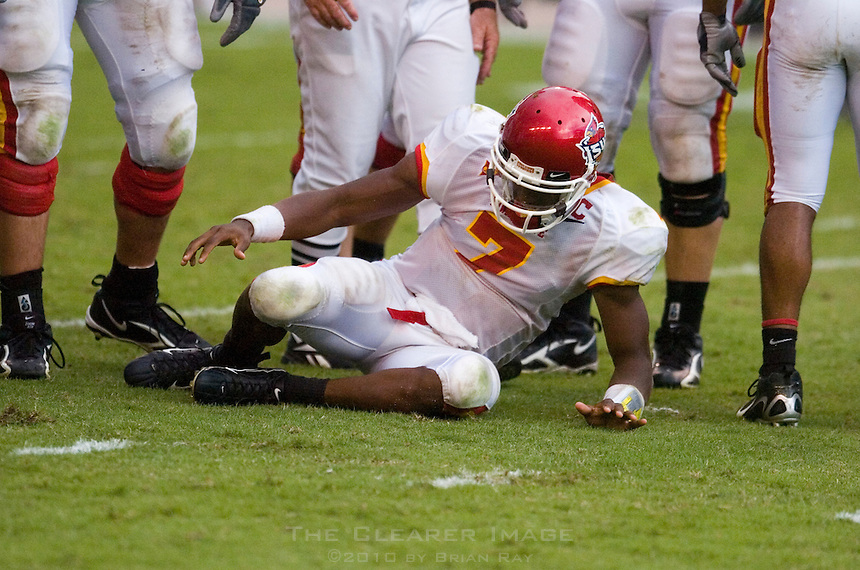 23 September 2006: Iowa State quarterback Bret Meyer (#7) recovers from a sack during the Cyclones 37-14 loss to the Texas Longhorns at Darrell K Royal Memorial Stadium in Austin, TX.