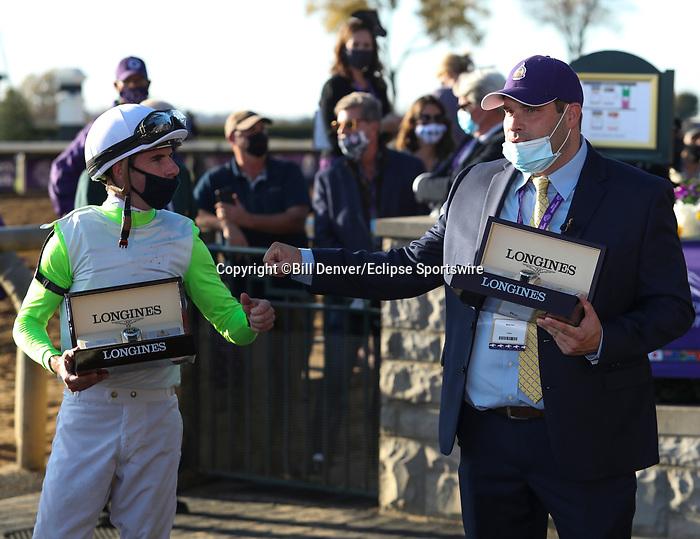 November 7, 2020 : Connections of Monomoy Girl, winner of  the Longines Distaff on Breeders' Cup Championship Saturday at Keeneland Race Course in Lexington, Kentucky on November 7, 2020. Bill Denver/Breeders' Cup/Eclipse Sportswire/CSM