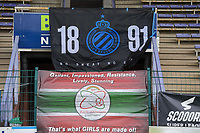 Illustration picture shows the banners for Club Brugge and Zulte Waregem before a female soccer game between SV Zulte - Waregem and Club Brugge YLA on the fourth matchday of the 2021 - 2022 season of the Belgian Scooore Womens Super League , saturday 11 of September 2021  in Harelbeke , Belgium . PHOTO SPORTPIX | DIRK VUYLSTEKE