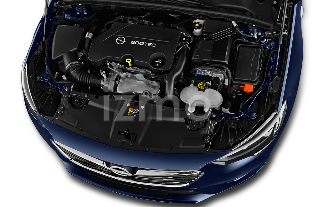 Car stock 2018 Opel Insignia Sports Tourer Dynamic 5 Door Wagon engine high angle detail view