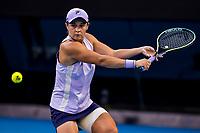 16th February 2021, Melbourne, Victoria, Australia; Ashleigh Barty of Australia returns the ball during round 4 of the 2021 Australian Open on February 15 2021, at Melbourne Park in Melbourne, Australia.