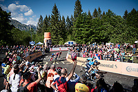 Mikel Landa (ESP/Movistar) & Pello Bilbao (ESP/Astana) turning into the finish straight, sprinting for the win<br /> <br /> Stage 20: Feltre to Croce D'Aune-Monte Avena (194km)<br /> 102nd Giro d'Italia 2019<br /> <br /> ©kramon