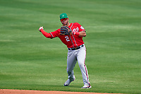 Washington Nationals second baseman Luis García (2) throws to first base during a Major League Spring Training game against the New York Mets on March 18, 2021 at Clover Park in St. Lucie, Florida.  (Mike Janes/Four Seam Images)