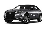 Stock pictures of low aggressive front three quarter view of 2019 Ds DS-3-Crossback Grand-Chic 5 Door SUV Low Aggressive