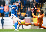 St Johnstone v Rangers…22.09.19   McDiarmid Park   SPFL<br />Michael O'Halloran is denied by Allan McGregor<br />Picture by Graeme Hart.<br />Copyright Perthshire Picture Agency<br />Tel: 01738 623350  Mobile: 07990 594431