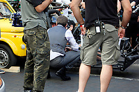 Actor Tom Cruise talking to a stuntman on the set of the film Mission Impossible 7 shot in Via Nazionale.<br /> Rome (Italy), October 9th 2020<br /> Photo Samantha Zucchi Insidefoto