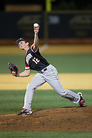 Davidson Wildcats relief pitcher Jaret Lacagnina (12) delivers a pitch to the plate against the Wake Forest Demon Deacons at David F. Couch Ballpark on February 28, 2017 in Winston-Salem, North Carolina.  The Demon Deacons defeated the Wildcats 13-5.  (Brian Westerholt/Four Seam Images)