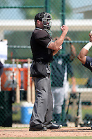 Umpire Derek Thomas makes a call during an Instructional League game between the New York Yankees and Pittsburgh Pirates on September 18, 2014 at the Pirate City in Bradenton, Florida.  (Mike Janes/Four Seam Images)