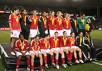 Canadian team pose after the medal ceremony. USA captured the 2006 Gold Cup at Home Depot stadium in Carson, California on November 26 2006 thanks to a penalty kick call by the referee with only seconds remaining in the last period of overtime. With the penalty kick score USA beat Canada 2-1.