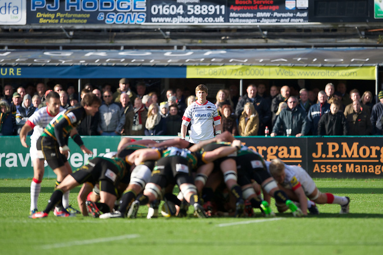 20121027 Copyright onEdition 2012©.Free for editorial use image, please credit: onEdition..David Strettle of Saracens looks on behind a scrum during the Aviva Premiership match between Northampton Saints and Saracens at Franklin's Gardens on Saturday 27th October 2012 (Photo by Rob Munro)..For press contacts contact: Sam Feasey at brandRapport on M: +44 (0)7717 757114 E: SFeasey@brand-rapport.com..If you require a higher resolution image or you have any other onEdition photographic enquiries, please contact onEdition on 0845 900 2 900 or email info@onEdition.com.This image is copyright the onEdition 2012©..This image has been supplied by onEdition and must be credited onEdition. The author is asserting his full Moral rights in relation to the publication of this image. Rights for onward transmission of any image or file is not granted or implied. Changing or deleting Copyright information is illegal as specified in the Copyright, Design and Patents Act 1988. If you are in any way unsure of your right to publish this image please contact onEdition on 0845 900 2 900 or email info@onEdition.com