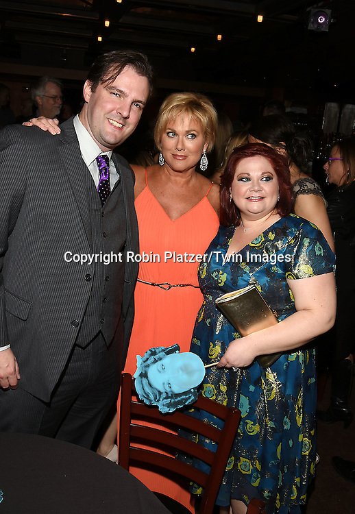 """Tonja Walker, Kathy Brier and husband Jason Muntattends the Opening night of """"The Marvelous Wonderettes"""" on April 28, 2016 at The Kirk at Theatre Row at the after party at The Westbank Cafe  in New York, New York, USA.<br /> <br /> photo by Robin Platzer/Twin Images<br />  <br /> phone number 212-935-0770"""