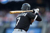 Tim Anderson (7) of the Chicago White Sox at bat against the Detroit Tigers at Comerica Park on June 2, 2017 in Detroit, Michigan.  The Tigers defeated the White Sox 15-5.  (Brian Westerholt/Four Seam Images)