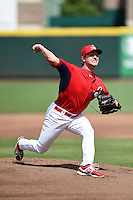 Springfield Cardinals pitcher Ronnie Shaban (15) delivers a pitch during live batting practice before a game against the Frisco Rough Riders on June 1, 2014 at Hammons Field in Springfield, Missouri.  Springfield defeated Frisco 3-2.  (Mike Janes/Four Seam Images)