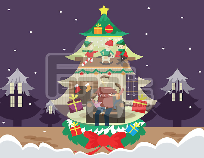 Illustration of family celebrating Christmas in tree shaped house