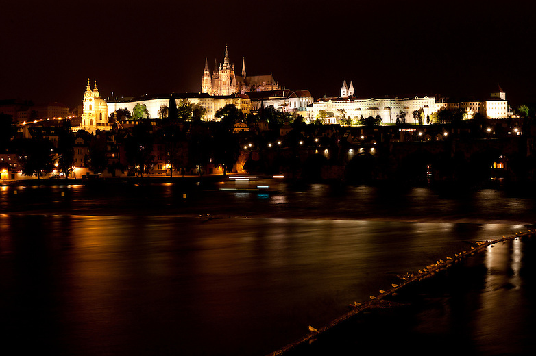 The lights highlight the magnificent architectural structure of the Prague Castle and St Vitus Cathedral.  The Prague Castle was home to the Kings of Bohemia and the Holy Roman Emperors.  The Bohemia crown jewel collection is housed at the castle.  The presidents of Czechoslovakia and the Czech Republic have had their offices in the castle as well.
