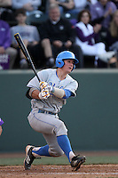 Tyler Heineman # 8 of the UCLA Bruins bats against the TCU Horned Frogs at the Los Angeles super regionals at Jackie Robinson Stadium on June 9, 2012 in Los Angeles,California. UCLA defeated TCU 4-1.(Larry Goren/Four Seam Images)