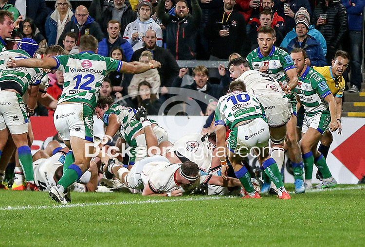 Friday 8th October 2021<br /> <br /> Rob Herring scores during the URC Round 3 clash between Ulster Rugby and Benetton Rugby at Kingspan Stadium, Ravenhill Park, Belfast, Northern Ireland. Photo by John Dickson/Dicksondigital