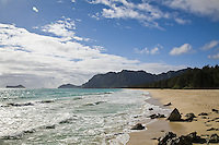 Waimanalo Beach with the Koolau mountain range, Manana Island and Kaohikaipu Island in the background