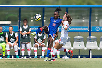 Bradenton, FL - Sunday, June 12, 2018: Melchie Dumonay, Caitlin Shaw prior to a U-17 Women's Championship 3rd place match between Canada and Haiti at IMG Academy. Canada defeated Haiti 2-1.